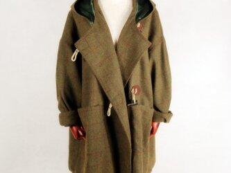 マント風  チェック柄 ウール コートの画像