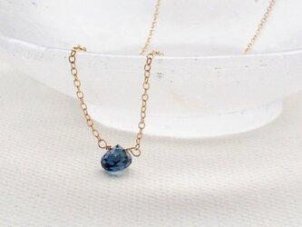 【K14gf】天然石ロンドンブルートパーズの一粒ネックレス(約37㎝)/N19の画像