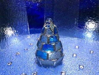 【小さなもみの木ランプ/樹氷ver.】ステンドグラス・ミニランプ(LEDライト付)の画像