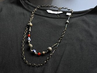 『Japanesque』ジャパネスク〜アンティークネックレス(Silver leaf and Red agate)〜の画像
