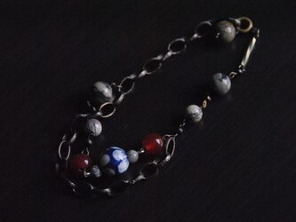 『Japanesque』ジャパネスク〜アンティークブレスレット(Silver leaf and Red agate)〜の画像