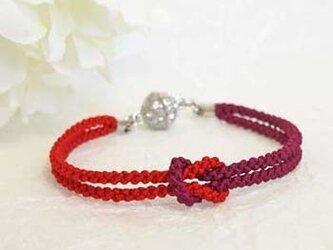 mu su fu (red)絹組紐ブレス キラキラマグネット留の画像