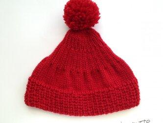 大人のボンボンニット帽[red]の画像