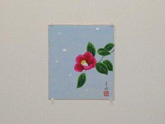 日本画色紙 「雪椿」の画像