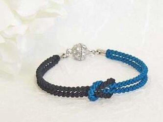 mu su fu(blue×black)絹組紐ブレス キラキラマグネット留の画像