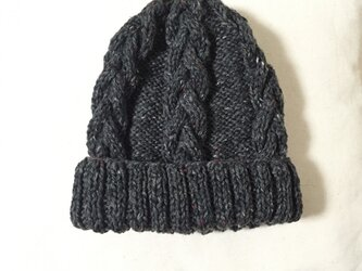 ニット帽 ツイードグレー 男女兼用の画像