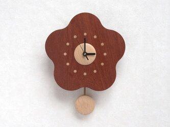 花梨フラワー5弁振子時計の画像