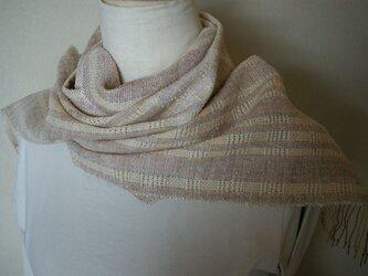 手織り 模紗織りショール②の画像