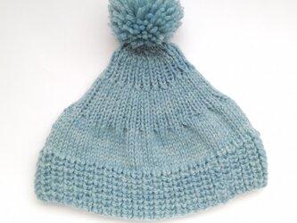 大人のボンボンニット帽[sky blue]の画像