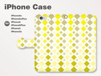 iPhone7/7Plus/SE/6s/6sPlus他 スマホケース 手帳型 北欧-四角-菱 イエロー 黄 1502の画像