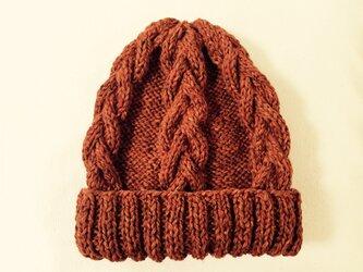 ニット帽 ツイードオレンジ 男女兼用の画像