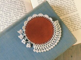 Leather&Crocheted lace Broochの画像