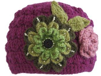 オーダー作品(販売予約済み)大人用 ニット帽子 お花付きの画像