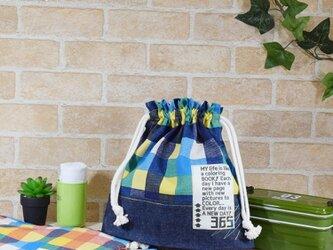 カラフルチェックのお弁当袋(大):RED/BLUE/ORANGEの画像
