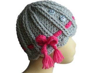 うね編みキュートなお花子供帽子(46cm)の画像
