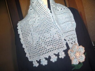 お花の模様編み★水仙★すみれ★ウール手編み♪の画像