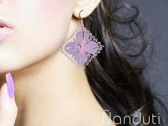 ニャンドゥティレースのピアス ピンク・バイオレット LFAR-C04-PVの画像