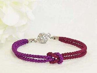 mu su fu(purple1)絹組紐ブレス キラキラマグネット留の画像