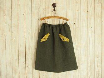 フラップポケット付きスカート(No.02/リネン/カーキ)の画像