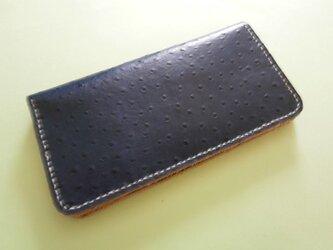 牛革オーストリッチ型押し 手縫い財布の画像