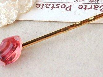 (受注制作)ガラスのリップちゃん*ヘアピン Pinkの画像