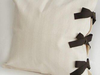 【カバーのみ】 canvas stripes クッションカバー ribbon SQの画像