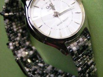 ビーズ織の時計ベルト(12mm)ストーン柄 ベルトのみ の画像