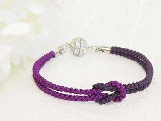 mu su fu(purple2)絹組紐ブレス キラキラマグネット留の画像