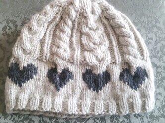 ふわふわニットのお帽子(ホワイトグリーン&グレー)の画像