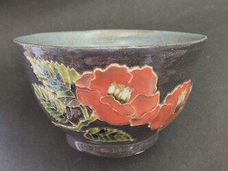 黒い器 紅白椿 小茶椀の画像