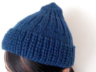 大人のシンプルニット帽[blue]の画像