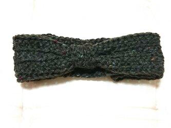 ココアブラウン 毛糸のヘアバンドの画像