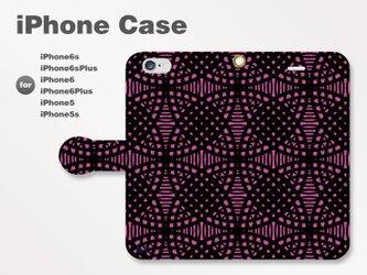 iPhone7/7Plus/SE/6s/6sPlus他 スマホケース 手帳型 和柄-七宝-幾何学 パープル紫2005の画像