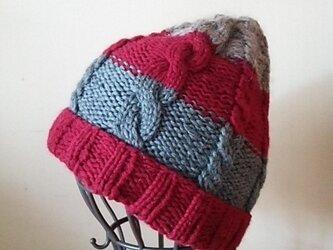 アラン模様の3色ニット帽の画像