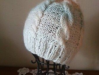 SALE キッドモヘアのグラデーションニット帽 ホワイトの画像