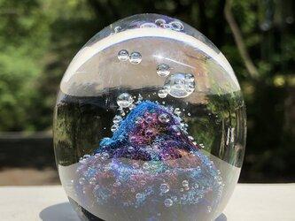 青いお山のペーパーウェイト ガラスの画像