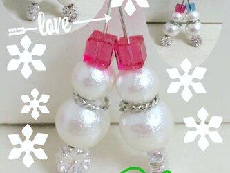 merryXmas☆雪だるまのピアスorネックレスの画像