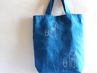 「カルシウム足りてますか?」リネンマチつきトートバッグの画像