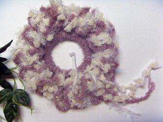 もくもくふんわり♪手編みのシュシュ★Gピンクの画像