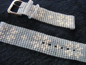 ビーズ織の時計ベルト(20mm) 雪柄Ⅱの画像