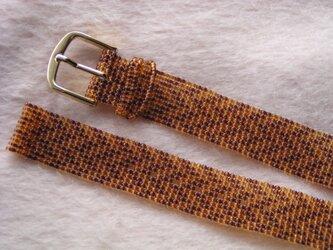 ビーズ織の時計ベルト(15mm) 茶色のヘリンボーン柄の画像