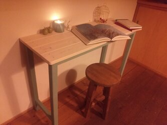 ワークテーブル【ホワイト&ブルー】W100×D36×H70の画像