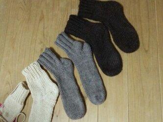手編み*ウール100%ソックス*靴下の画像