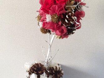 トピアリータイプのクリスマスツリー【プリザ+ドライ】の画像