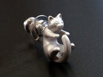 猫ピンブローチ ラテュ(シルバー)の画像