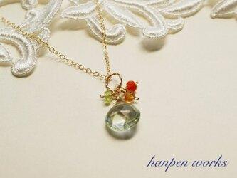 【SALE】 14kgf 宝石質 グリーン アメジスト ビタミンカラー ネックレスの画像
