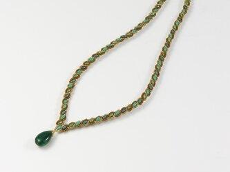 アベンチュリン・ドロップ・波模様のネックレスの画像