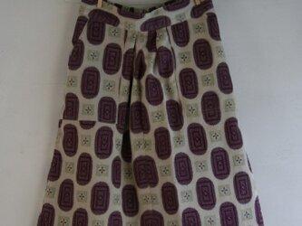 絹 生成り 紫楕円のゴムスカート Lサイズの画像
