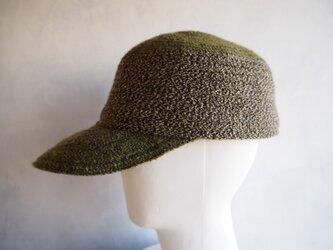 毛糸ブレードツートーンキャップ(グリーン)の画像