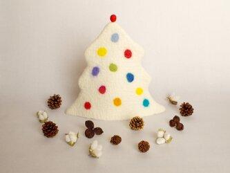 クリスマスツリーのティーコジー ホワイトの画像
